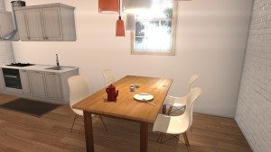 dinning area and kitchen in loft 3d smaller image