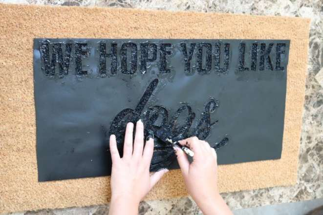 painting the welcome mat stencil