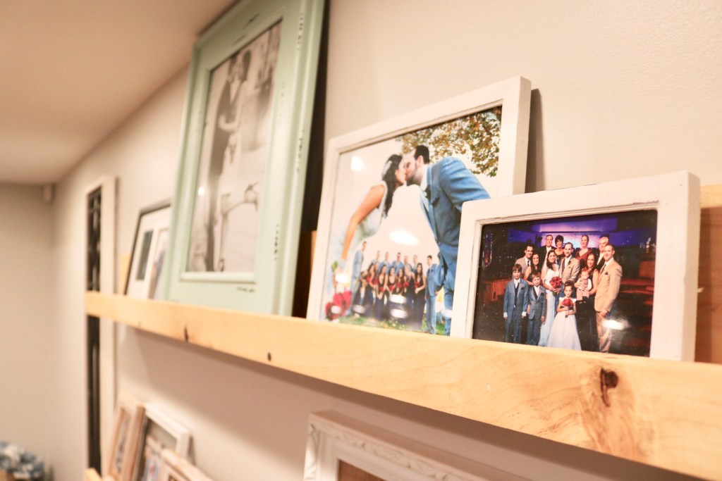 pictures on shelf