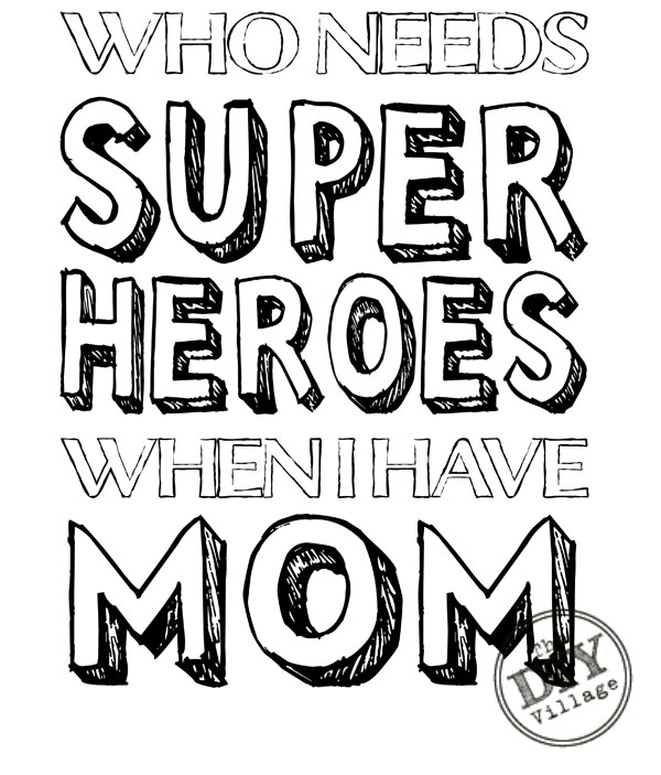 super mom award colouring pages
