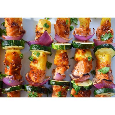 Pineapple and salmon kabob