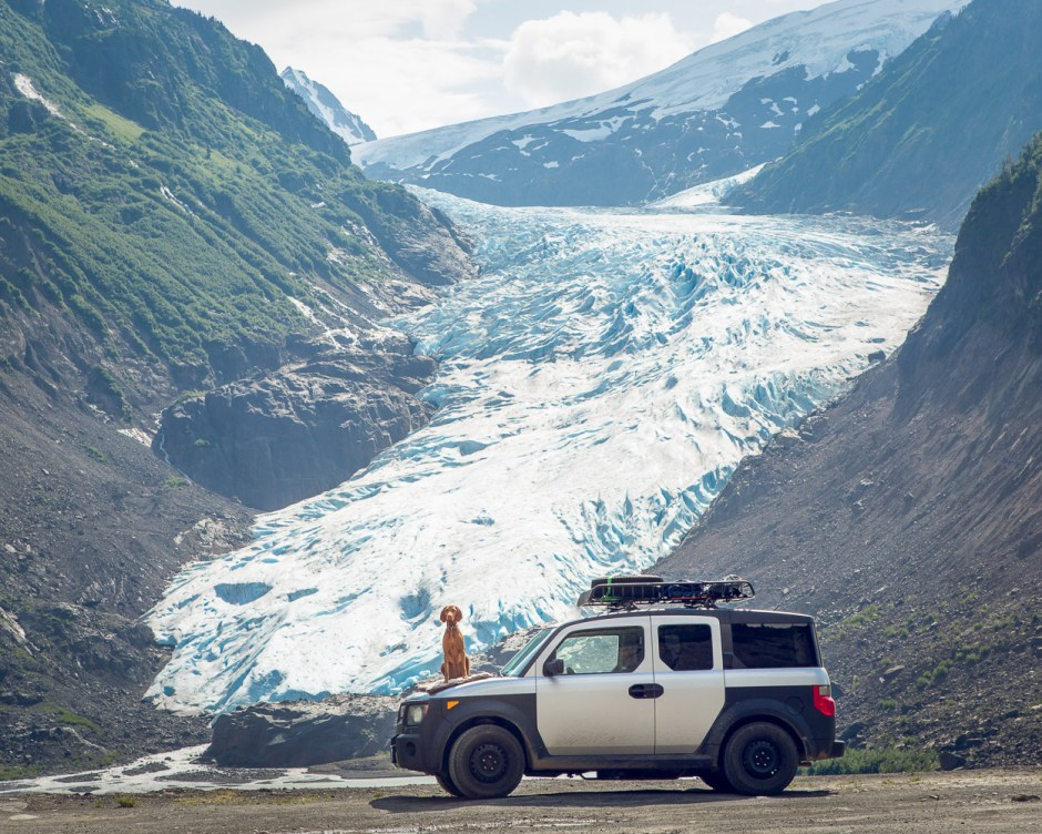 Loving the glacial view at Bear Glacier Park for a lunch stop on my Honda Element