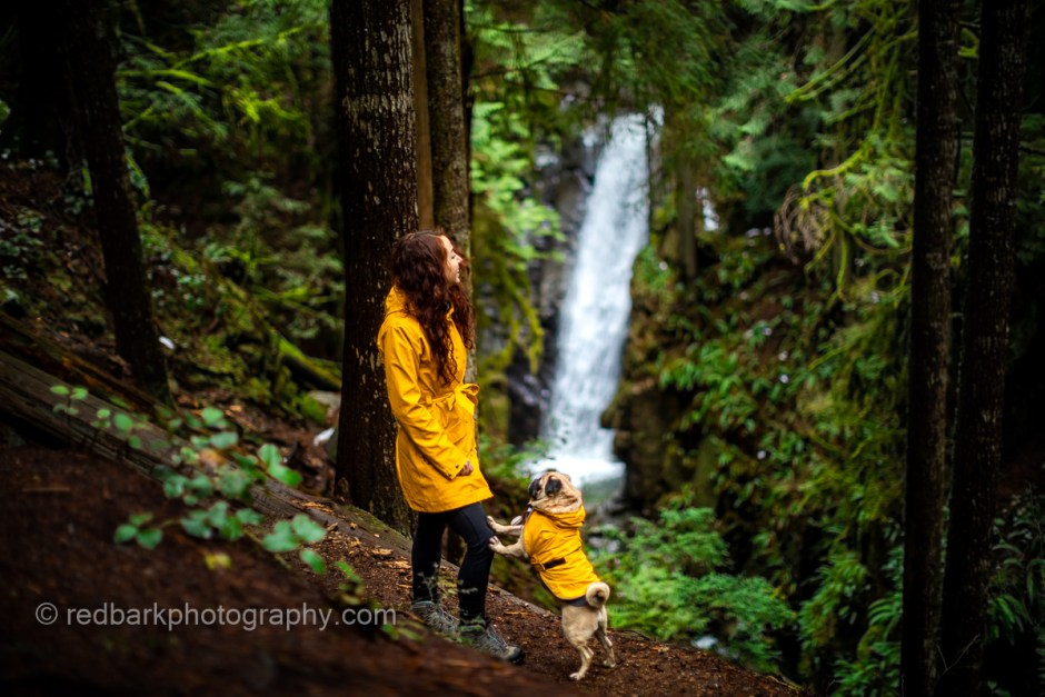 Ngaio overlooking Cypress Falls with her pug Wonton in matching yellow rainjackets