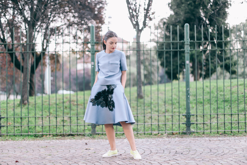 blue skirt and top parosh alberto guardiani shoes anja tufina fashion blogger