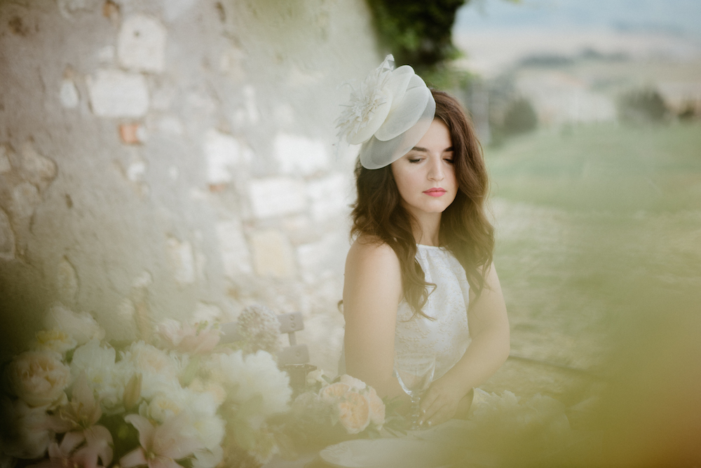 Fashion Blogger Wedding Tuscany Hairpiece