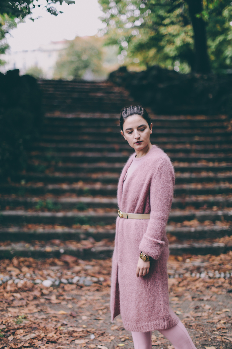 how to wear pink in winter
