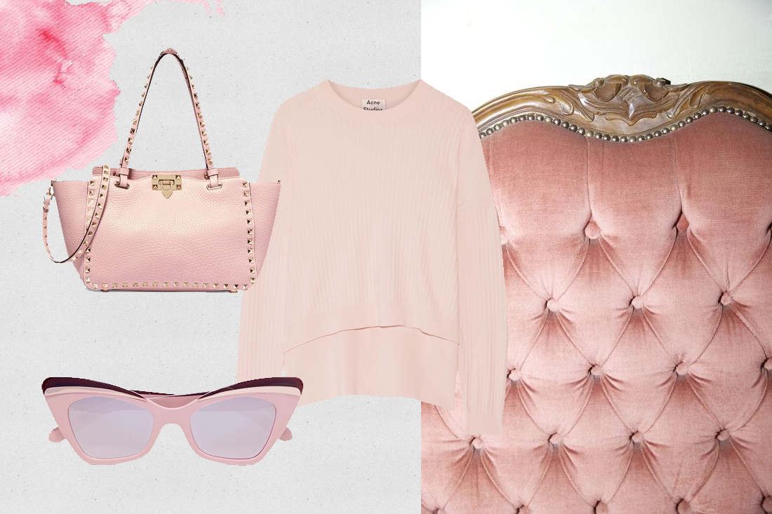 millenail pink bag ance sweater sunglasses