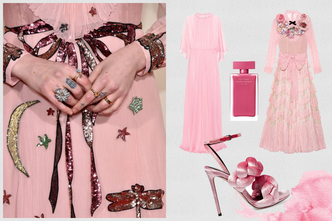 millenial pink fashion trend gucci dress valentino dress marco de vincenzo shoes