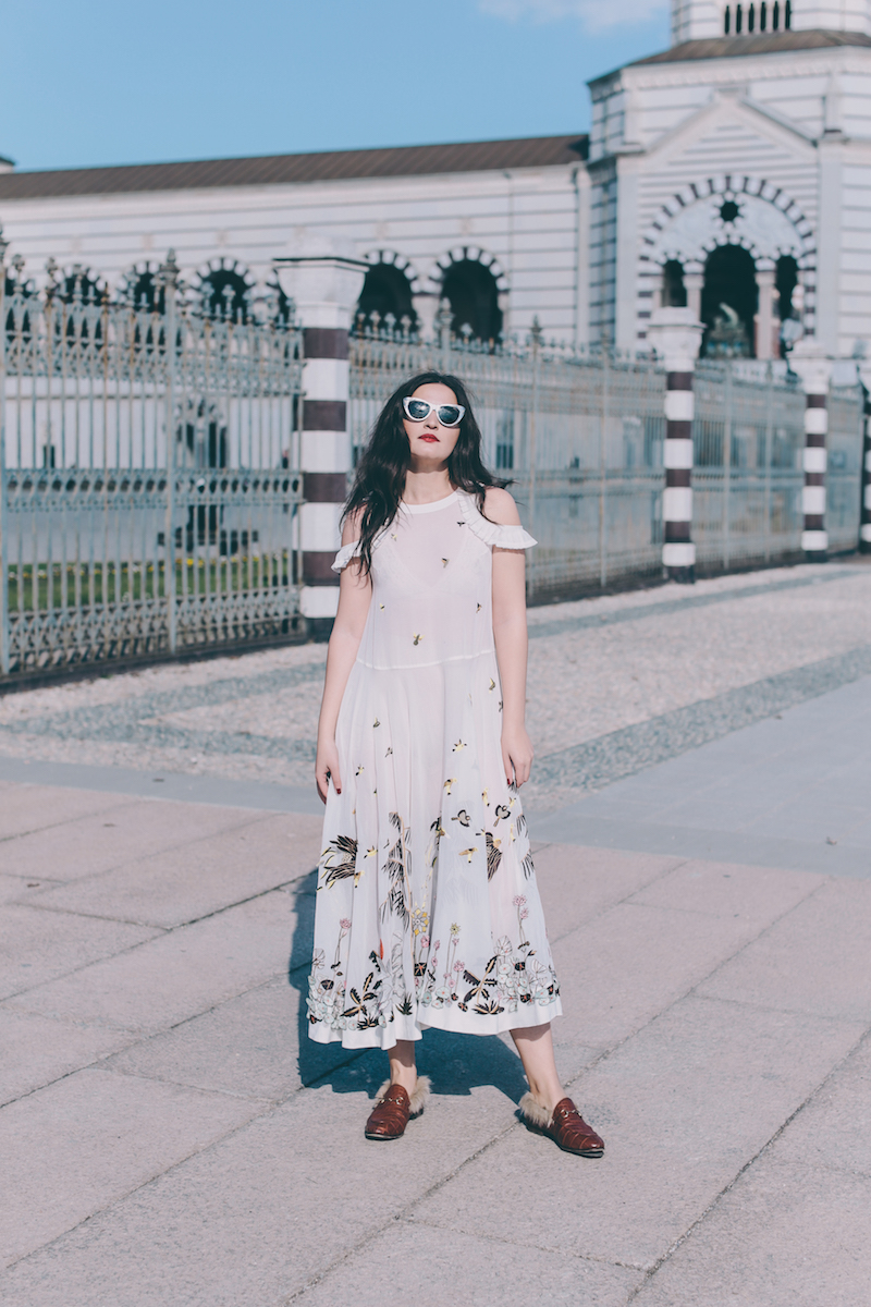 Rahul Mishra dress Gucci sunglasses