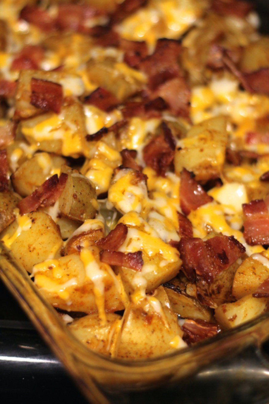 Buffalo Chicken & Bacon Potato Casserole | thedomesticblonde.com