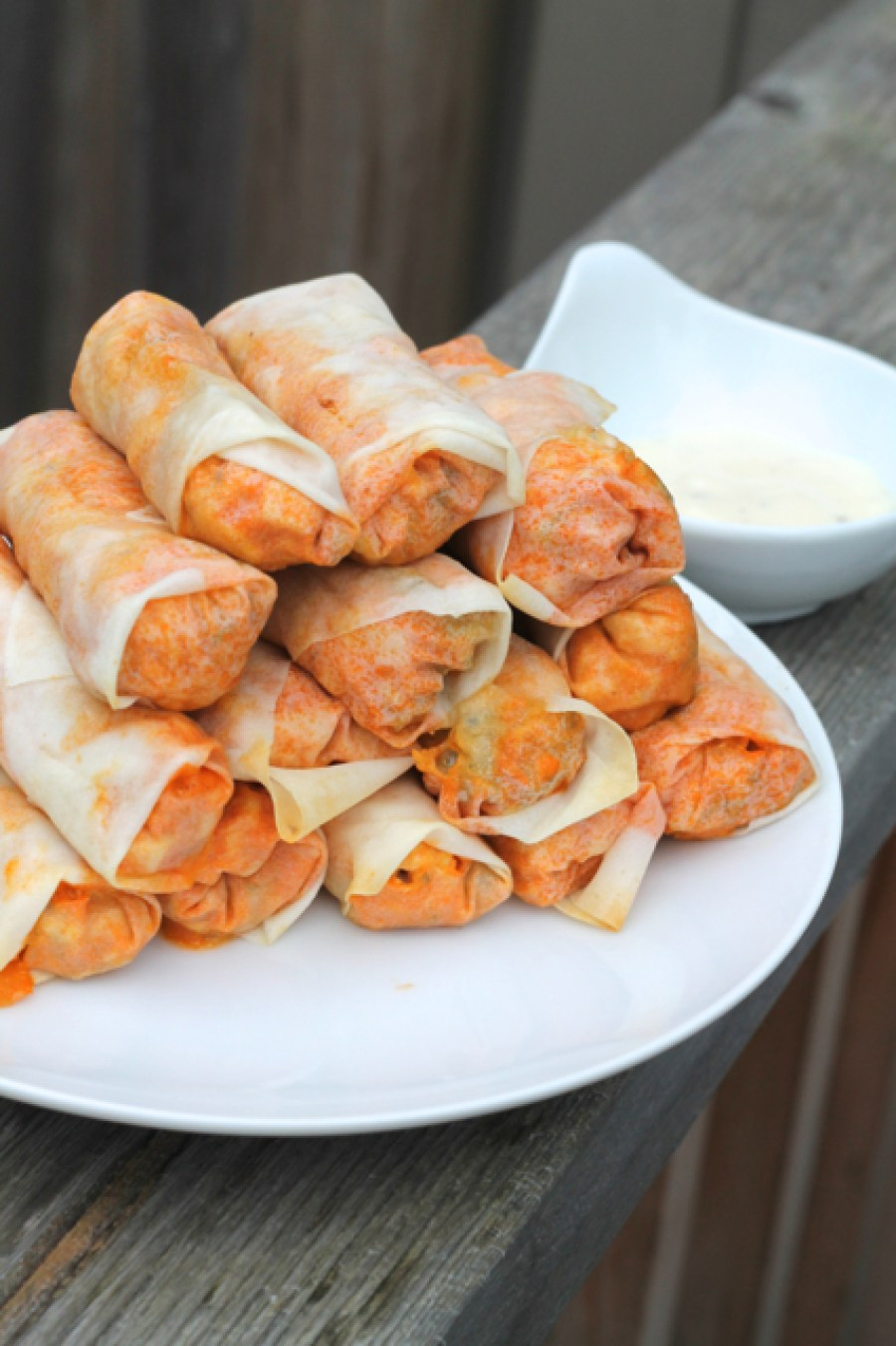 Buffalo Chicken Spring Rolls | thedomesticblonde.com