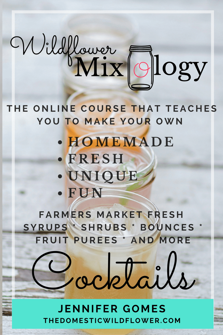 Enroll in the homemade cocktail mixology course! This gorgeous course teaches you in 15+ videos HOW to create farmer's market fresh cocktails!