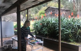 Jennifer Hopewell painting from the back verandah at Donnelly