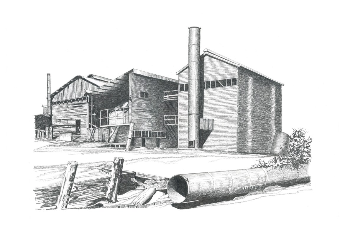 Michael Spight, 1. Mill with Stack, charcoal & pencil drawing 61cm x 45cm