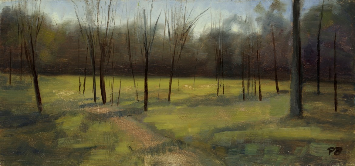 Peter Barker, Peaceful Forest Path, 138 x 295 mm, oil on board