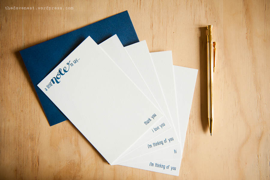 letterpress calligraphy notecards