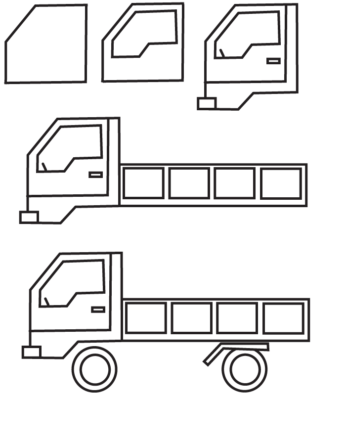 learn how to draw a truck with simple step by step instructions