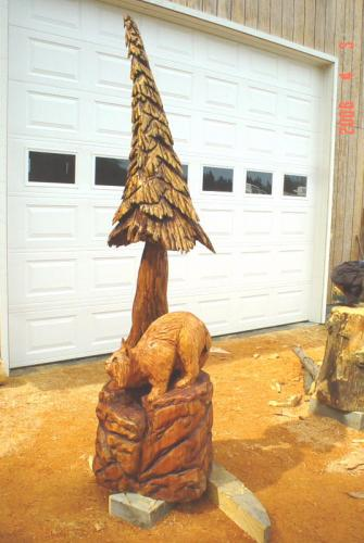 Bobcat Chainsaw Carving Chain Saw Sculpture
