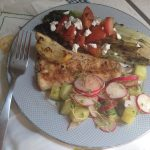 Grilled Romaine Salad with Cucumber Radish Salad and Cajun Spiced Cod