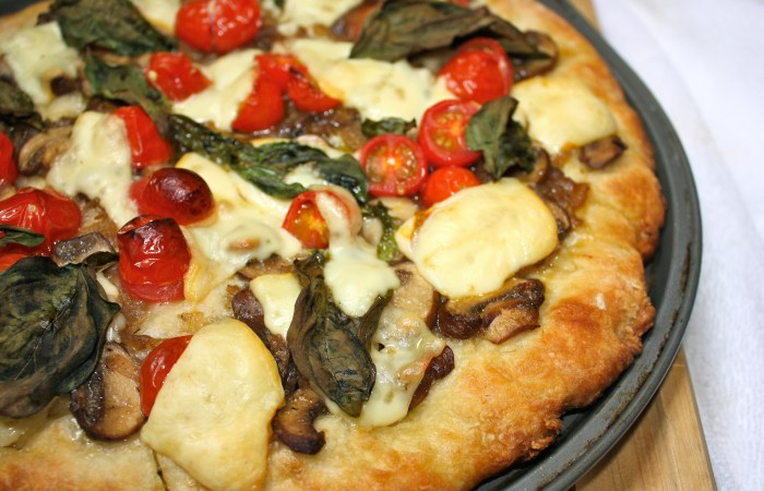 Caramelized Mushroom & Onion Pizza with Blistered Cherry Tomatoes | Dreamery Events