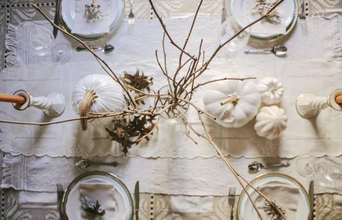 A Charming Minimalist White Thanksgiving Table