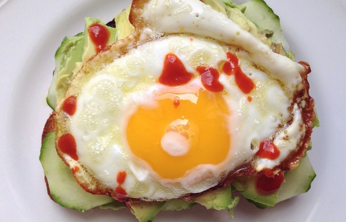 Cucumber Avocado Toast with a Fried Egg