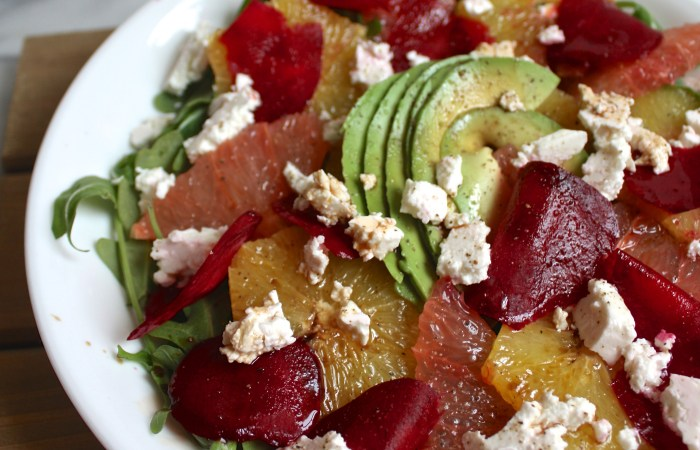 Citrus Arugula Salad with Shaved Beets & Fresh Cheese