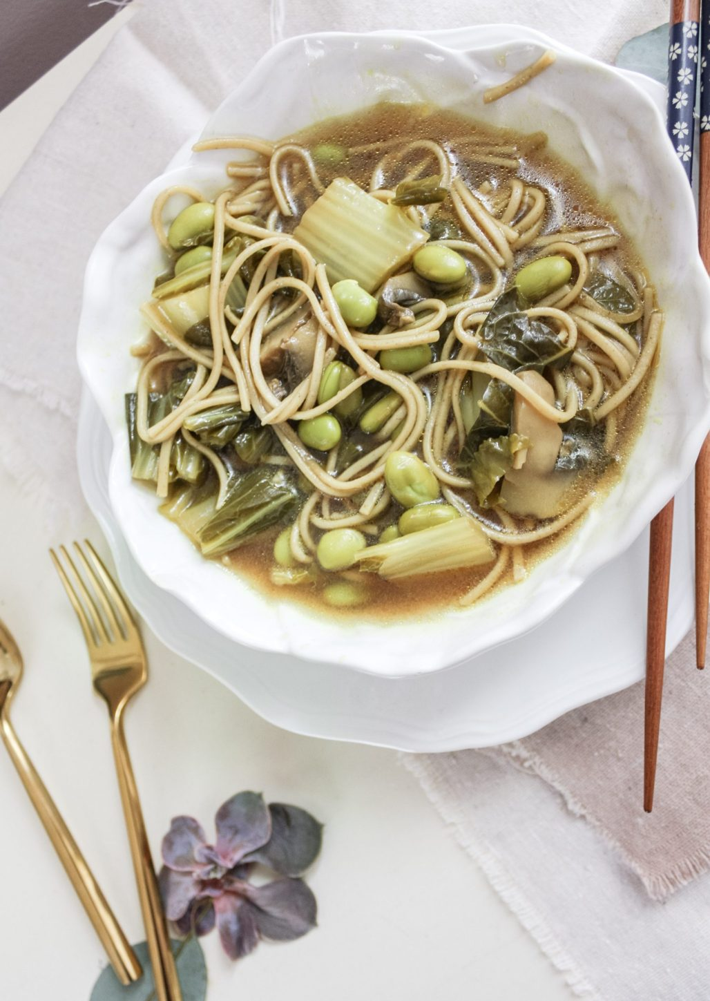 Soba Noodles in a Miso Sesame Broth with Toasted Edamame and Bokchoy || Dreamery Events