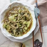 Soba Noodles in a Miso Sesame Broth with Toasted Edamame and Bok Choy