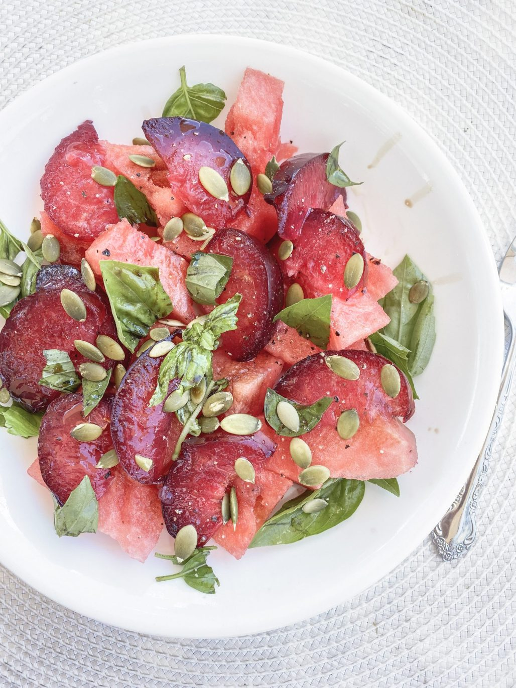 Watermelon + Plum Salad || Dreamery EventsWatermelon, Peach + Tomato Caprese Salad ... the only meal you'll want this Summer! || Dreamery Events