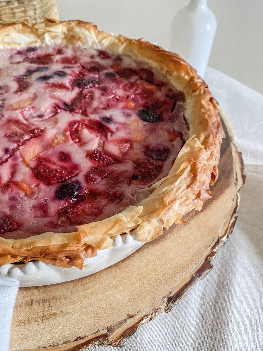 Berry Sour Cream Custard Pie with Phyllo Crust || Dreamery Events