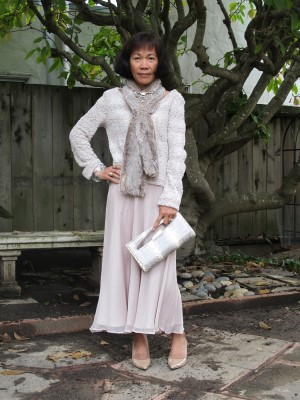 Monochromatic dressing incorporating different textures and celebrating the color of winter.
