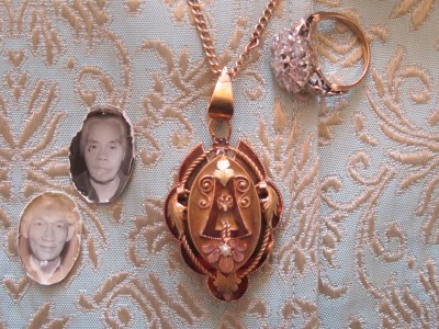 Pictures of my lola and lolo from my lola's locket, with the ring they gave to my mother.