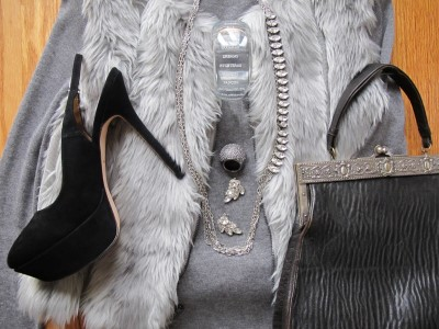 A close-up of mixing vintage and contemporary, and faux fur, rhinestone, suede, knit, and leather.