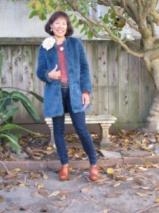 Supermom ready for action in blue faux fur.
