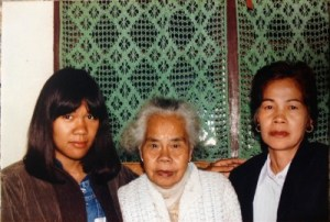 Me, my lola Salud, and my mother, Baguio City, the Philippines, December 1984. My mother shows just a little gray along the hairline.