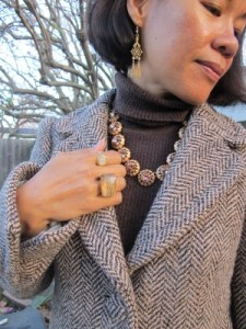 Chunky ring from Lava 9 (Berkeley, CA), Carmela Rose vintage brass earrings, Sundance rings, and J. Crew necklace.