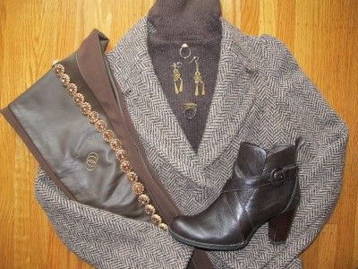 Mixing textures: Nubby chenille turtleneck, Tocca herringbone tweed coat (Personal Pizazz), faux leather and knit leggings, chocolate leather booties, and warm brass jewelry.