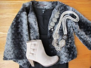 Anatomy of black and gray: one o my favorite faux fur jackets, suede booties, and statement necklace from Anthropologie.