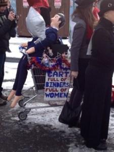 Cart full of binders of women!