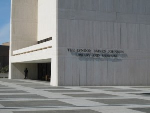 The LBJ Library and Museum face an expansive courtyard.