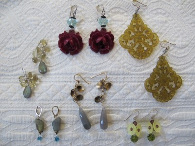 A mix of labradorite and agate earrings, along with vintage favorites: vintage plastic flowers, aqua quartz, and sterling silver and vintage burnt yellow Lucite, Swarovski crystal, and sterling silver.