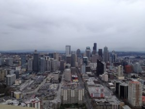 A view of downtown Seattle from the Space Needle.