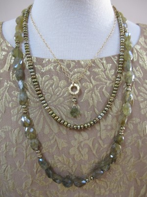 This three-strand KPD necklace, a Christmas present from David three years ago, can be worn as three separate necklaces.