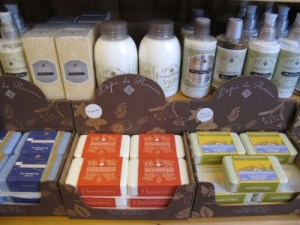 Bath and beauty products are popular items.