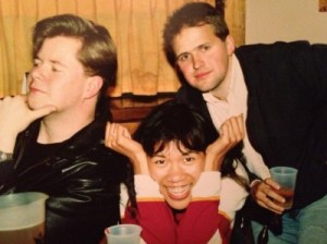 """John, me, and Jack practicing our """"author poses"""" for our book jackets, The Orange Grove, Syracuse University, May 1990."""