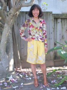 Floral blouse and silk and linen appliqued skirt from Personal Pizazz (Berkeley, CA) for spring.