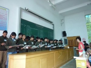 Tsai teaching her students at the PEACH summer camp, Yunnan, China, July 2012. (Photo courtesy of Liou)