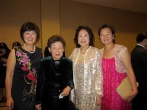 Self-Help for the Elderly fundraiser dinner: Tsai, Rosalyn Koo, Tsai's mother Tina, and Liou, June 2012. (Photo courtesy of Tsai)