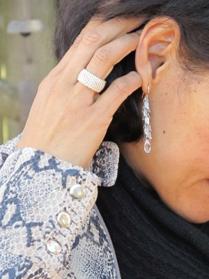 Go simple with accessories - Carmela Rose drop earrings and Tiffany ring for my 50th birthday from David.